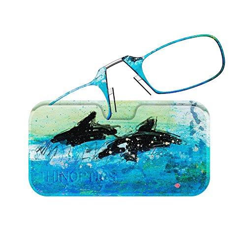 9865401688da ThinOptics Reading Glasses + Universal Pod Case | Gregory Burns Designer  Collection, Dolphin 2, 1.50 Strength