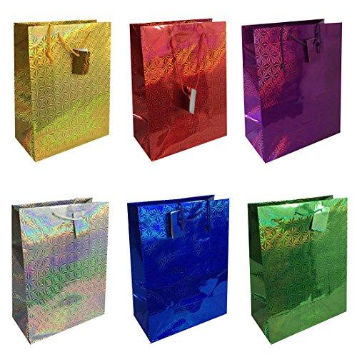 Holographic Gift Bag - Allgala 12-PC Premium Hologram Gift Bags, 18