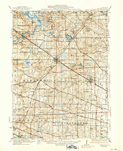 YellowMaps Barrington IL topo map, 1:62500 Scale, 15 X 15 Minute, Historical, 1923, Updated 1938, 20.7 x 16.9 in - Tyvek