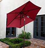 7ft wooden market umbrella with Tilt Mechanism - Red