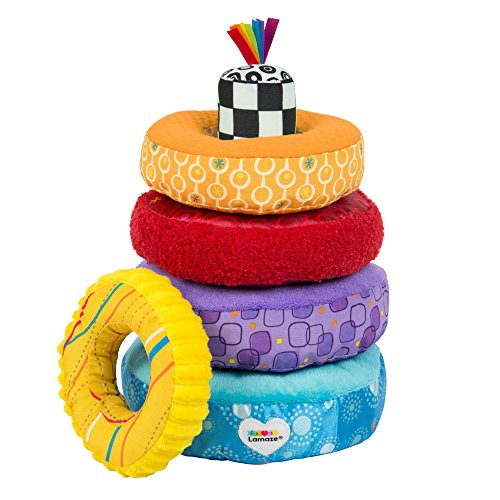 Stacker Plush Ring - LAMAZE - Rainbow Stacking Rings Toy, Help Baby Develop Fine Motor Skills and Hand-Eye Coordination with Multiple Textures, Bold Colors, Playful Patterns and Crinkly Sounds, 6 Months and Older