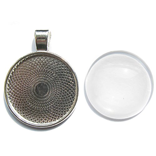 TOAOB 10 Silver plated Round Bezel Pendant Trays 10 Glass Cabochon Dome Tiles Clear 1