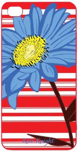 Kate Knight - Custodia alla moda per iPhone 4S, tema fiore e strisce, colori: Blu/Rosso