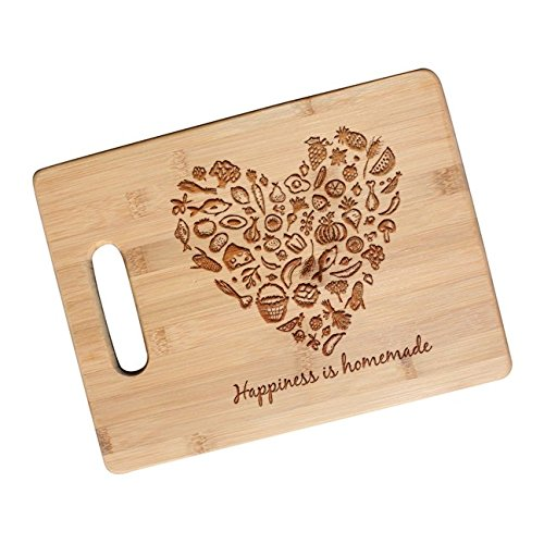 Homemade Gifts - Happiness is Homemade - Engraved Bamboo Cutting Board for Mother's Day Gift, Housewarming - JS19.NC