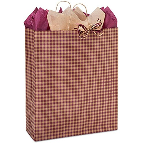 Burgundy Gingham Paper Shopping Bags - Queen Size - 16 x 6 x 19in. - 100 Pack by NW