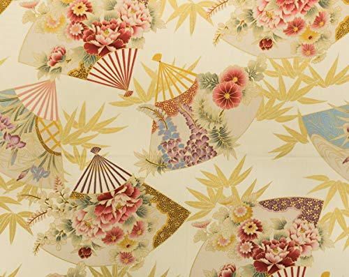 - Trendtex Fabrics Oriental Fans with Florals and Gold Bamboo Leaves Cream Cotton Poplin by The Yard