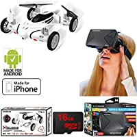 Fly and Drive Air and Land Hybrid Quadcopter Drone with HD Camera (XDG6-1005) with Xtreme VR Vue Virtual Reality Viewer for Smartphones & General Brand 16GB Micro SD Memory Card
