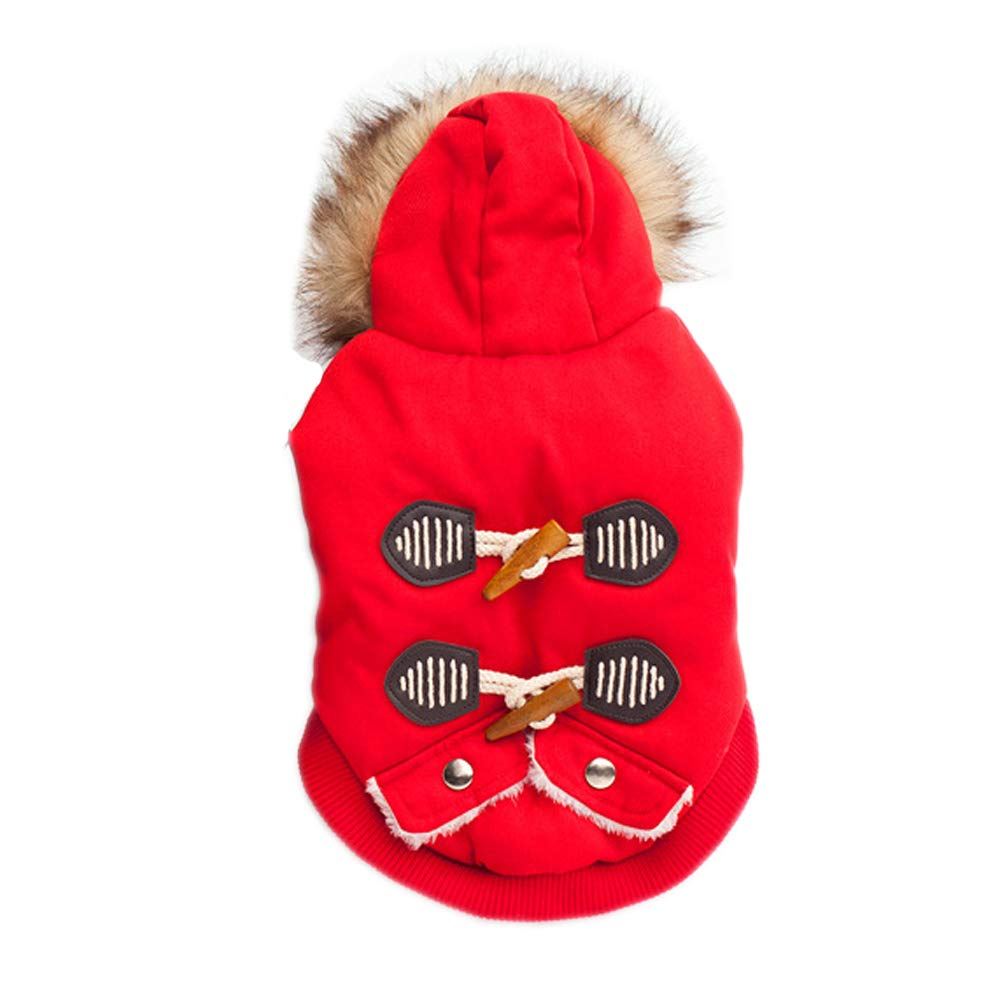 Red M Red M Dog Coat Hoodie Dog Clothes Thicken Horn Button Red bluee Cotton Costume for Pets Men's Women's Keep Warm Fashion(M,Red)