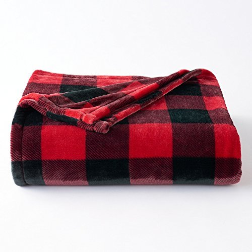 The Big One Supersoft Plush Throw Blanket (Red Plaid) (One Throw The Blanket Big)