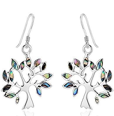 6af324e5a DTPSilver - 925 Sterling Silver and Abalone Paua Shell Tree of Life Earrings:  Amazon.co.uk: Jewellery