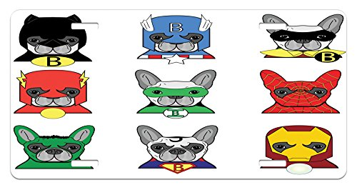 Ambesonne Superhero License Plate, Bulldog Superheroes Fun Cartoon Puppies in Disguise Costume Dogs with Masks Print, High Gloss Aluminum Novelty Plate, 5.88 L X 11.88 W Inches, Multicolor ()