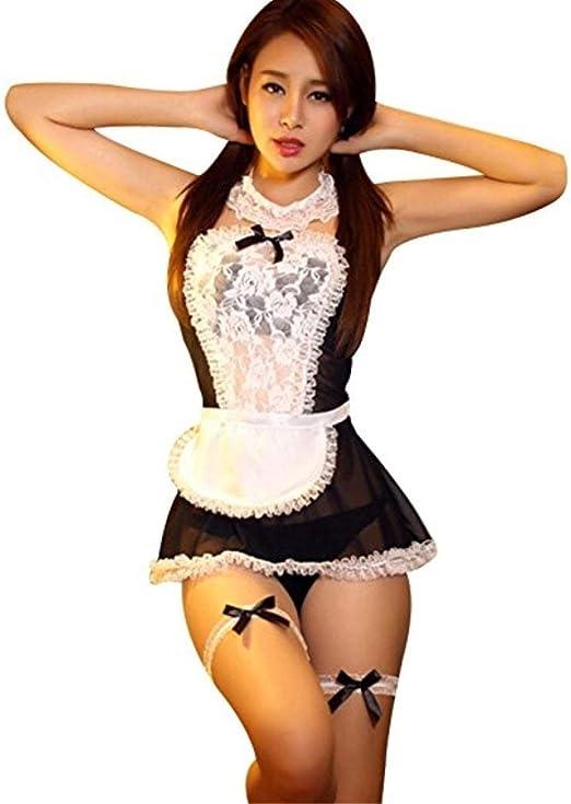 Erotic Underwear Disfraz de mucama Francesa de Encaje Sexy Cosplay ...