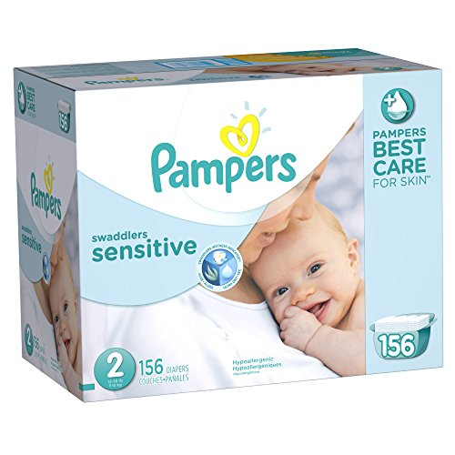 Pampers Swaddlers Sensitive Diapers Size 2 Economy Pack Plus 156 Count