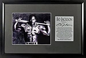 "Oakland Raiders KC Royals Bo Jackson ""Bo Knows…""8 x10 Photo Display (SGA Signature Engraved Plate Series) Framed"