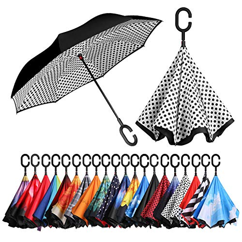 (BAGAIL Double Layer Inverted Umbrellas Reverse Folding Umbrella Windproof UV Protection Big Straight Umbrella for Car Rain Outdoor with C-Shaped Handle(White)