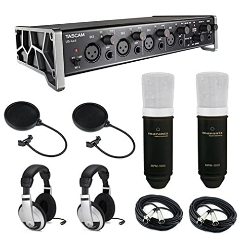 Tascam US-4x4 4-Channel USB Audio Interface Kit with (2x) Marantz MPM-1000 Large-Diaphragm Condenser Microphone, (2x) Pop Filter, (2x) 20' XLR Cable & (2x) Stereo Headphones
