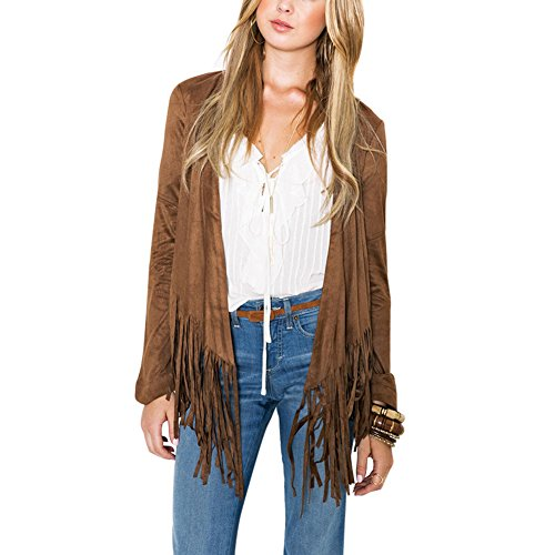 ETOSELL Women Long Sleeve Faux Suede Open Front Fringed Jacket Casual Outwear