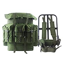 AKmax G.I. ALICE Backpack and Iron Frame with Olive Green 600D Polyester Straps and Waist Belt