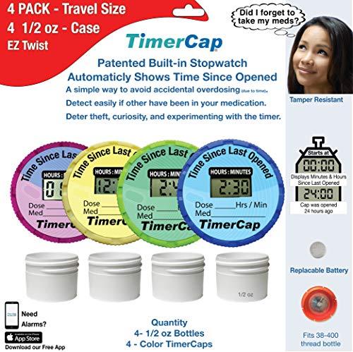 - TimerCap Smart Pill Bottle Cap & Medication Reminder | Automatically Records Built-in Stopwatch | Medicine Organizer (4 Pack Travel Case - EZ-Twist)