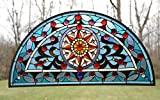 34''L X 18''H Half Round Tiffany Style Stained Glass Window Jeweled Glass Panel