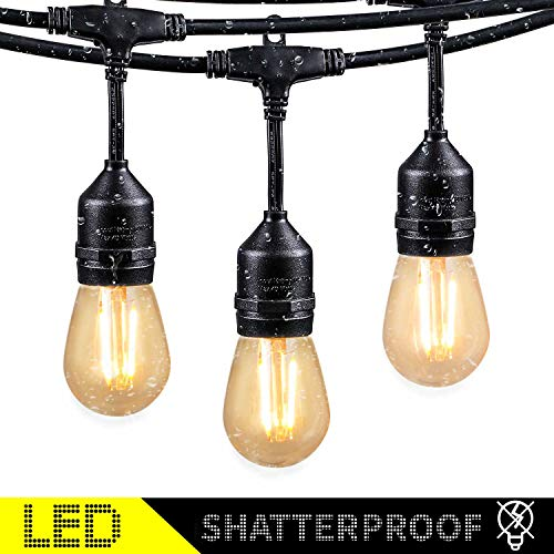 48Ft LED Outdoor String Lights with 15 Dimmable S14 Edison Bulbs, Shatterproof Commercial Grade Hanging Patio Lights for Deck Backyard Bistro Cafe Pergola Gazebo Wedding Garden Vintage Light Decor -