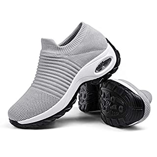 Women's Walking Shoes Sock Sneakers - Mesh Slip On Air Cushion Lady Girls Modern Jazz Dance Easy Shoes Platform Loafers Pure Grey,9.5