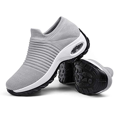 Women's Breathable Walking Tennis Shoes - Casual Slip on Sock Sneakers Nursing Work Shoes Platform Grey,5