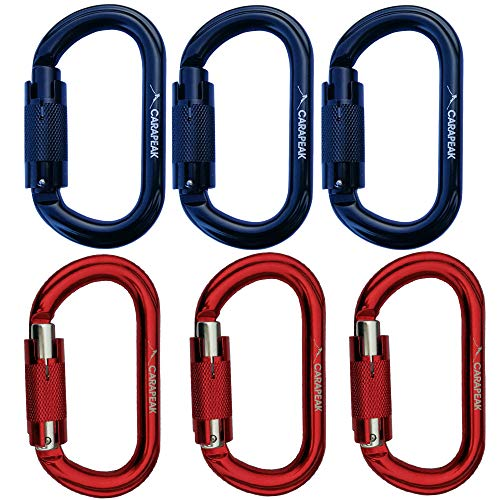 25kN Heavy Duty Aluminum Twist Lock - Auto Locking Rock Climbing Carabiner Clip, 6 Pack Set Strong Oval Shaped Self Locking, Lockable Hook Black Red ()