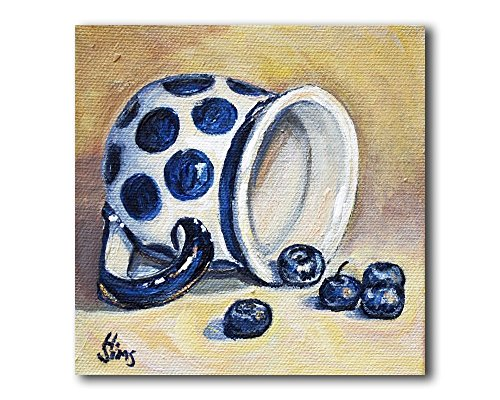 Polish pottery Mug and Blueberries, Still Life Wall Art Print for your Rustic Kitchen Decor, size mat option