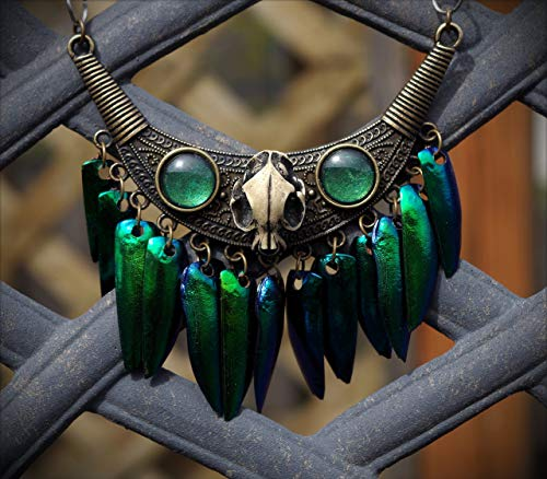 Large Bronze Resin Cat Skull Tribal Iridescent Real Jewel Beetle Wing Hand Made Bib Necklace ()
