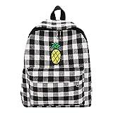 Van Caro Canvas Rucksack Checkered Backpack School Bag for Women Girls, Black-white