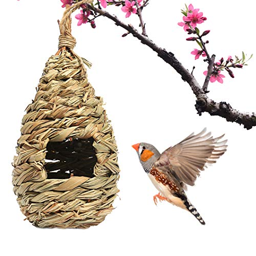 SunGrow Grass Bird Hut Cozy Resting Place for Birds Provides shelter from Cold Weather Bird Hideaway from Predators HandWoven Teardrop Shaped 100% Natural Fiber Ideal for Finch amp Canary