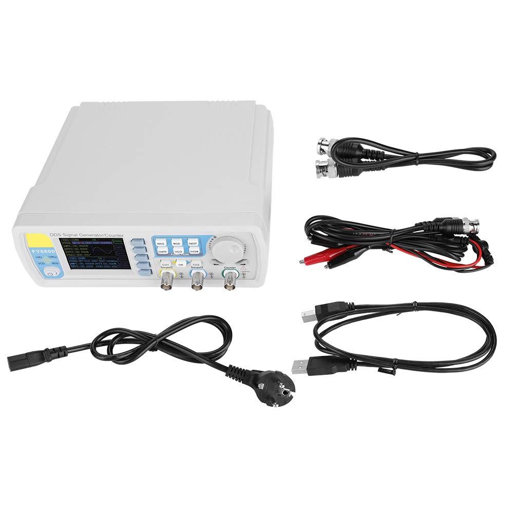 Générateur De Signal, Ac100-240V Fy6800 Double Canal Fonction Dds Fonction D'onde Arbitraire Générateur De Signaux Onde Sinusoïdale/Onde Carrée/Onde Triangulaire, Onde D'impulsion(Prise UE 60 MHz)