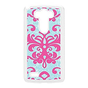 Damask - Pink & Blue White Hard Plastic Case for LG G3 by Gadget Glamour + FREE Crystal Clear Screen Protector