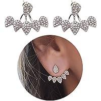 Honbay 2PCS Silver Simple Water Drop Crystal Rhinestone Ear Studs Earrings Pierced Charms Jewelry for Women and Girls