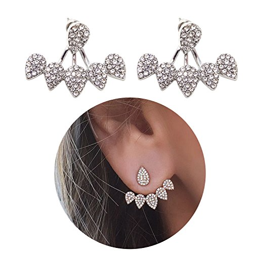 Honbay 2PCS Simple Stylish Water Drop Crystal Rhinestone Ear Studs Earrings Pierced Charms Jewelry for Women and Girls (Silver (Birthday Warm Jacket)