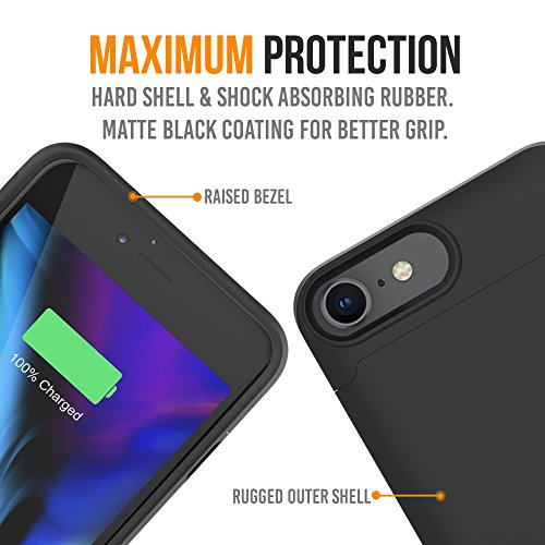 iPhone 8/7 Battery Case Qi Wireless Charging Compatible, Alpatronix BX190 4.7-inch 3200mAh Slim Rechargeable Extended Protective Portable Charger for iPhone 8 & iPhone 7 [Apple Certified Chip] - Black by Alpatronix (Image #5)