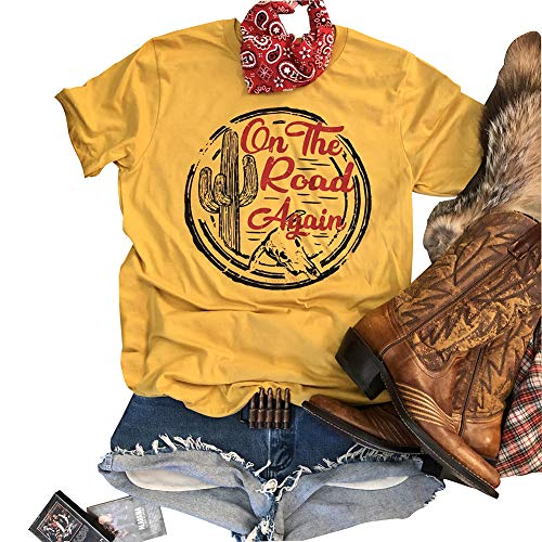 On The Road Again Retro Shirt Graphic Tees for Women Short Sleeve Cute Top Size S (Yellow)