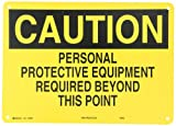 "Brady 25205 14"" Width x 10"" Height B-401 Plastic, Black on Yellow Protective Wear Sign, Header ""Caution"", Legend ""Personal Protective Equipment Required Beyond This Point"""