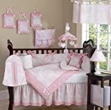 Sweet Jojo Designs Pink and White French Toile Baby Girl Bedding 9pc Crib Set