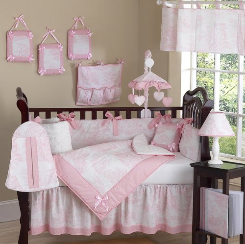 Sweet Jojo Designs 9-Piece Pink and White French Toile Baby Girl Bedding Crib Set