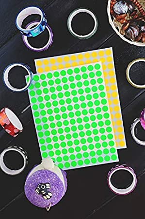 Royal Green Neon Sticky Labels 1cm Round 10mm Dot Stickers Fluorescent Green Sticker 2100 Pack