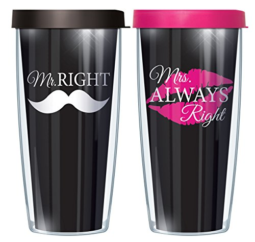 Mr. Right/ Mrs. Always Right Set Wraps Traveler 16 Oz Tumbler Cup with Pink and Black Lids - Mr Right Mrs Always Right Tumbler