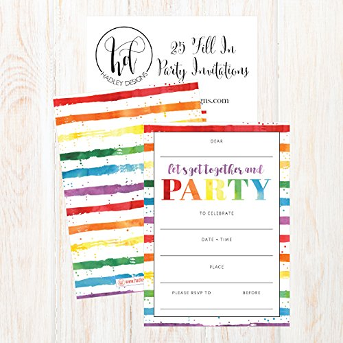 85OFF 25 Art Stripe Rainbow Party Invitations For Kids Teens