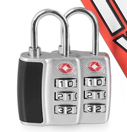 (Flytek TSA Approved Locks With Free Awesome Bonus Luggage Tag Airport 3-Digit Combination For Travel Suitcase School Gym Safety and Security (2-Pack))