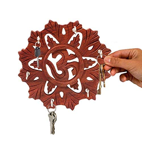 Handmade Wooden Om Design Round Key Holder Wall Decor Hanging 5.5 inch decorative key holder. Mother`s Day Easter Day Good Friday Present IndiaBigShop IBS0603