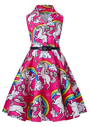 - RAISEVERN Girls Mermaid Birthday Dress Novelty Spring Long Swing Wedding Retro Vintage Dresses for Little Girl 8-9 Years