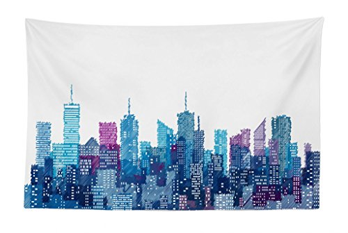 Manhattan Skyline Nyc - Lunarable New York Tapestry, Skyline of NYC Manhattan Brooklyn Bronx Queens Scratched Pattern, Fabric Wall Hanging Decor for Bedroom Living Room Dorm, 45 W X 30 L inches, Dark Blue Pale Blue Violet