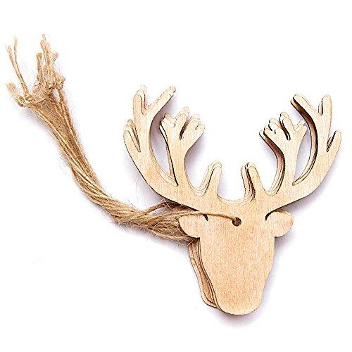 工場直接クラフトツリーのパッケージ24レーザーカットの木製鹿ヘッド装飾トリム、工芸、Gifting B0764FHMZM