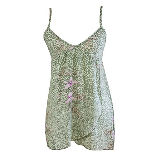 Girl Style Women's Babydoll Green With Floral Print Poly Chiffon Chemise With Matching Thong (2X)